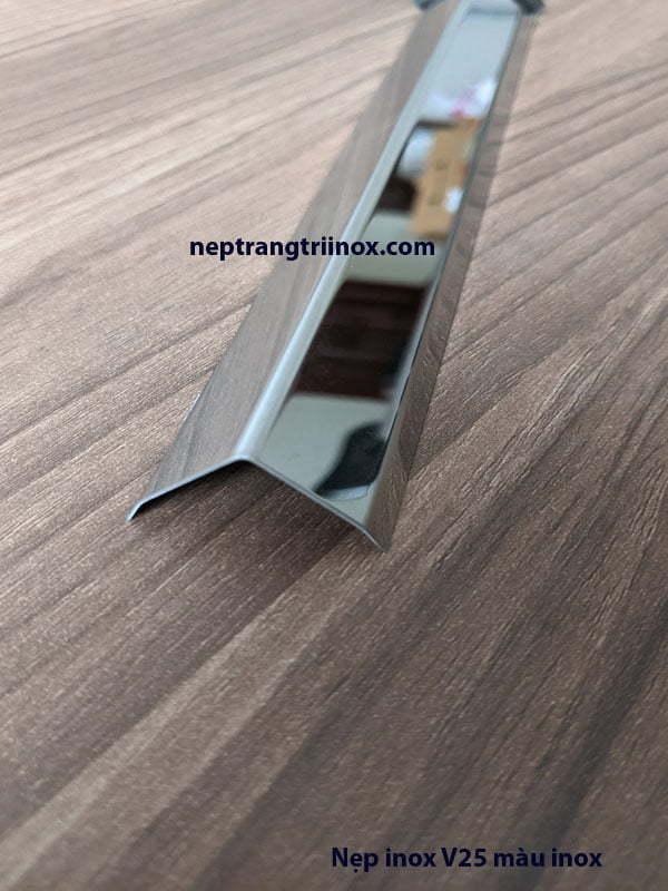 Hình ảnh nẹp inox V25 màu inox